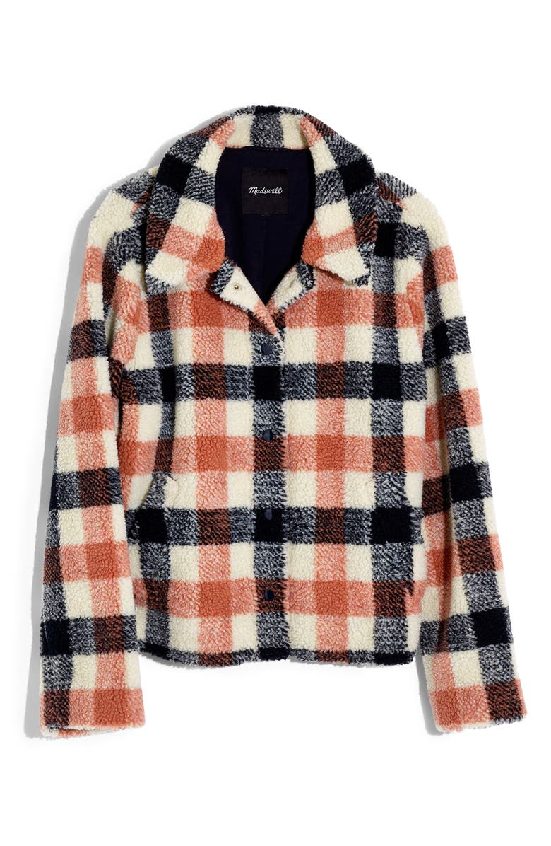 MADEWELL Hazlewood High Pile Fleece Jacket, Main, color, BIG TRIPLE SWEET DAHLIA