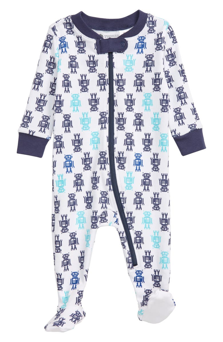 TUCKER + TATE Print Fitted One-Piece Pajamas, Main, color, WHITE- BLUE ROBOTS