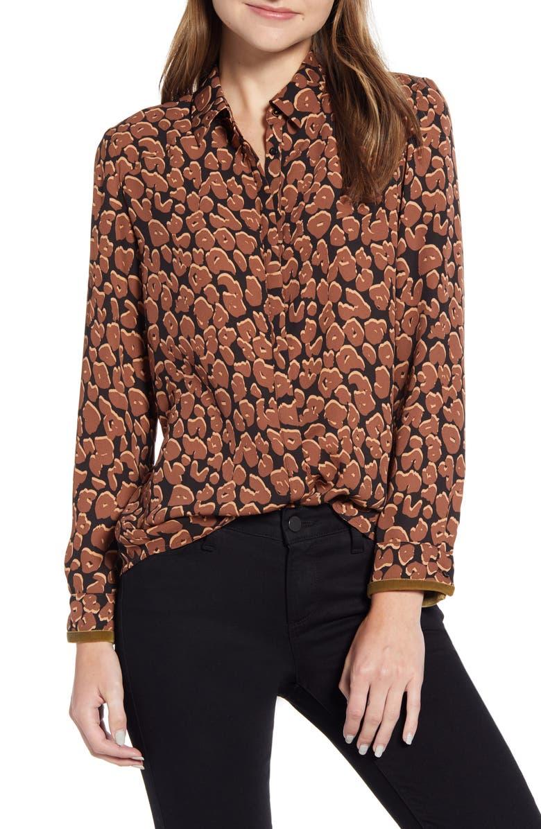 SCOTCH & SODA Drapey Fit Leopard Print Shirt, Main, color, 200