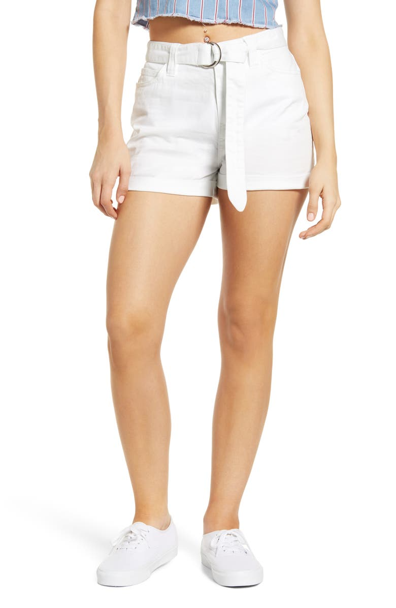 DICKIES Belted Denim Shorts, Main, color, WHITE