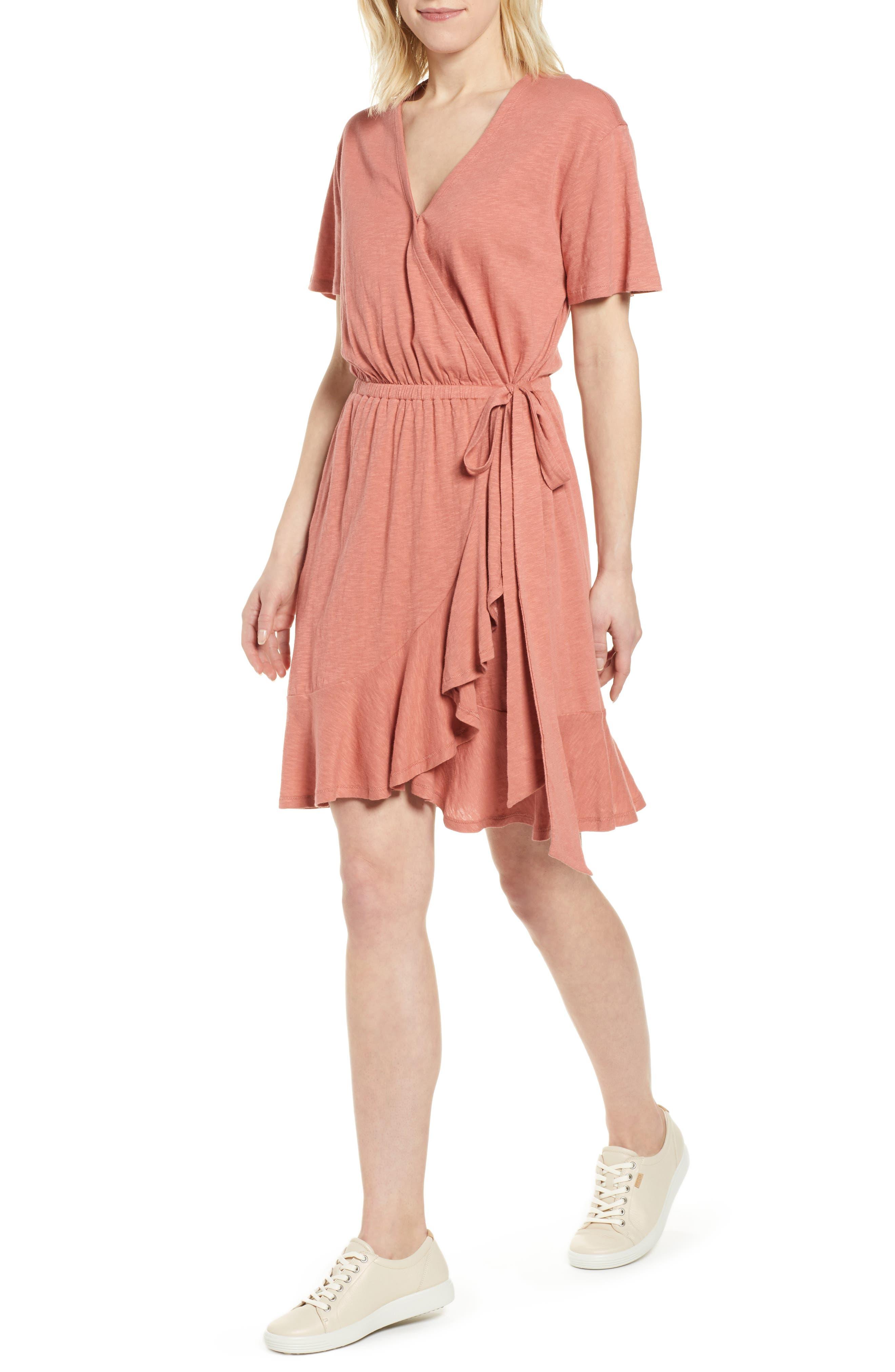 Petite Caslon Asymmetrical Hem Faux Wrap Dress, Pink