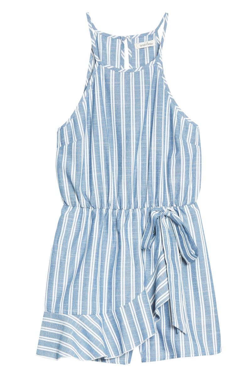 SPEECHLESS Stripe Sleeveless Romper, Main, color, DENIM IVORY