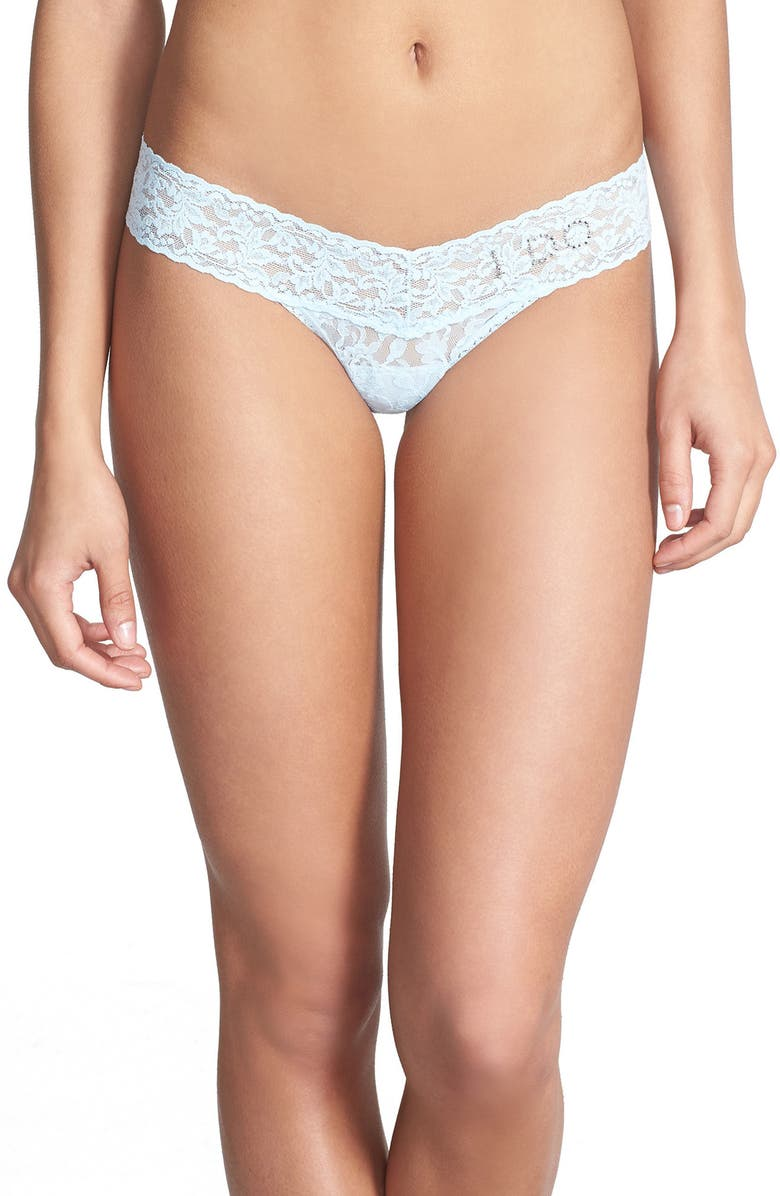 HANKY PANKY I Do Swarovski Crystal Low Rise Thong, Main, color, POWDER BLUE