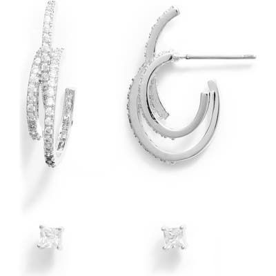 Nordstrom Triple Hoop & Stud Earrings Set