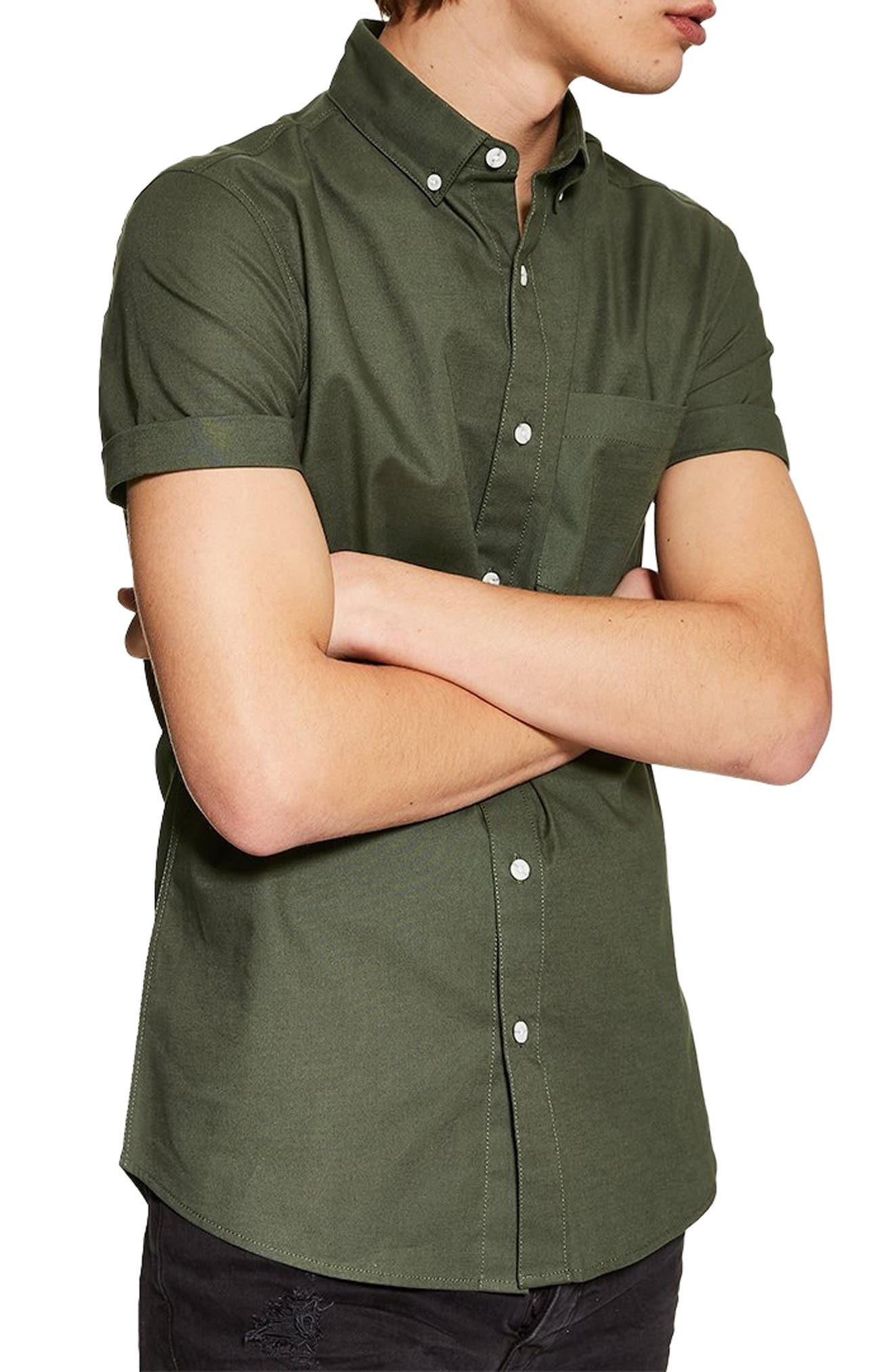 Muscle Fit Oxford Shirt, Main, color, OLIVE