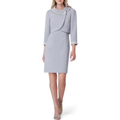 Tahari Imitation Pearl Jacket & Sheath Dress, Metallic