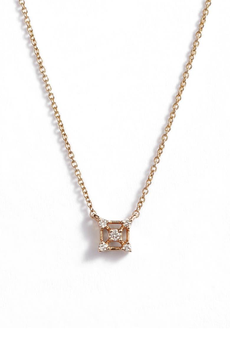DANA REBECCA DESIGNS Square Diamond Pendant Necklace, Main, color, YELLOW GOLD/ DIAMOND