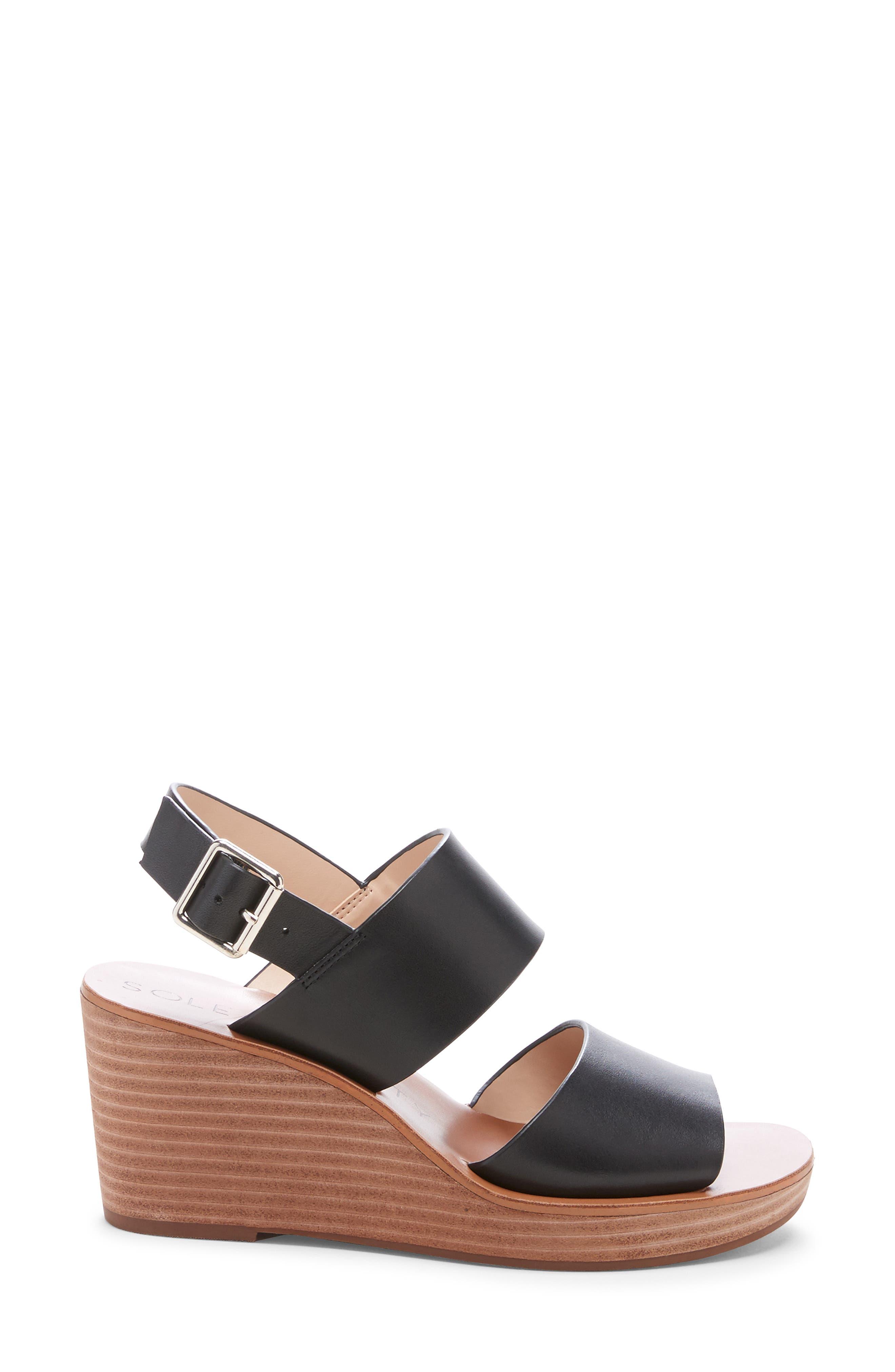 ,                             Pavlina Platform Wedge Sandal,                             Alternate thumbnail 3, color,                             BLACK LEATHER