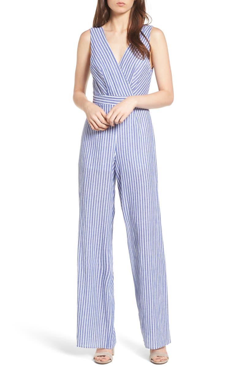 DEE ELLY Stripe Cotton Jumpsuit, Main, color, 420