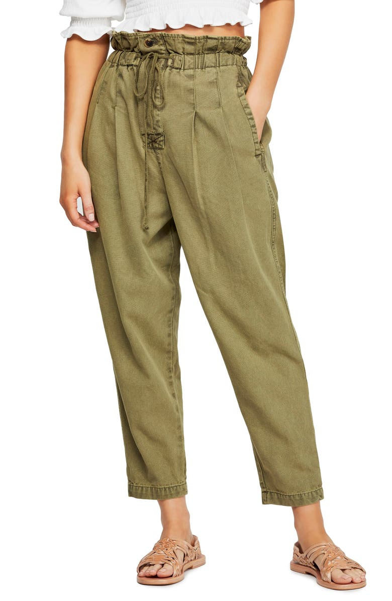 FREE PEOPLE Margate Pleated Trousers, Main, color, MOSS