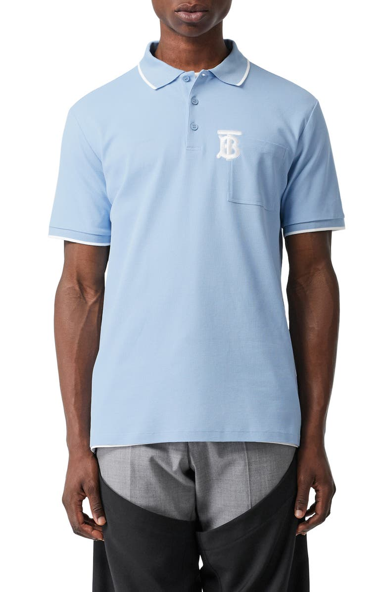BURBERRY Crewe Piqué Polo, Main, color, PALE BLUE