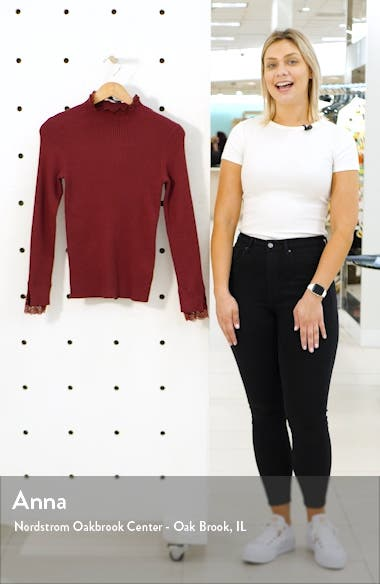 Lace Trim Ribbed Sweater, sales video thumbnail