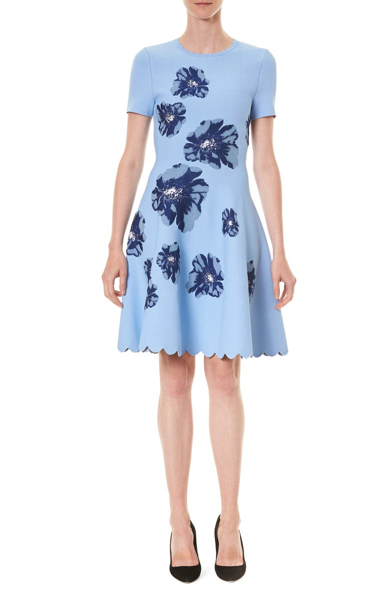 CAROLINA HERRERA Fit & Flare Jacquard Dress, Main, color, 400