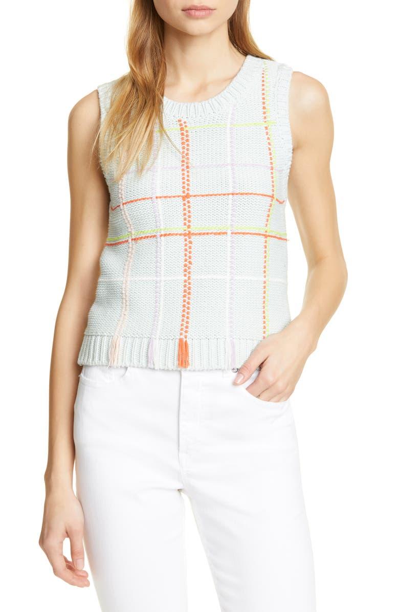 ALICE + OLIVIA Rosalina Sleeveless Cotton Blend Sweater, Main, color, 400