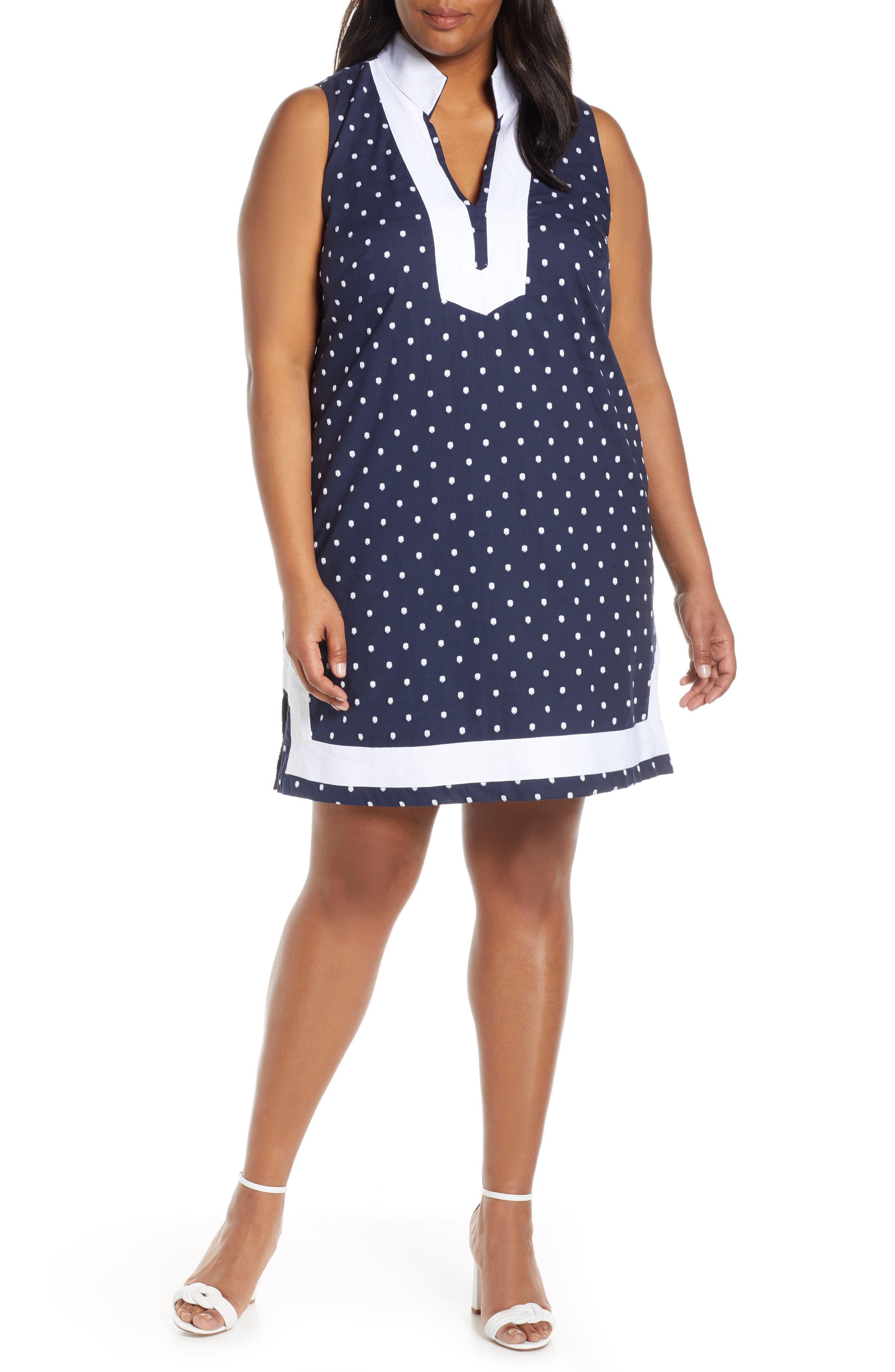 Plus Size Eliza J Polka Dot Cotton Dress, Blue
