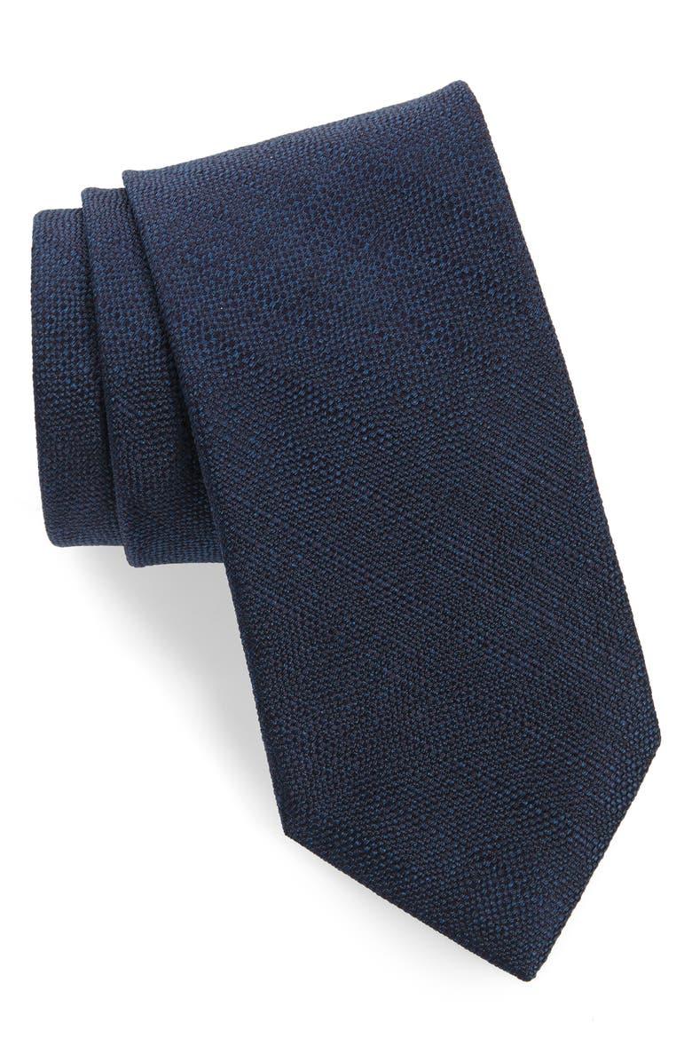 BRIONI Solid Silk Tie, Main, color, NAVY