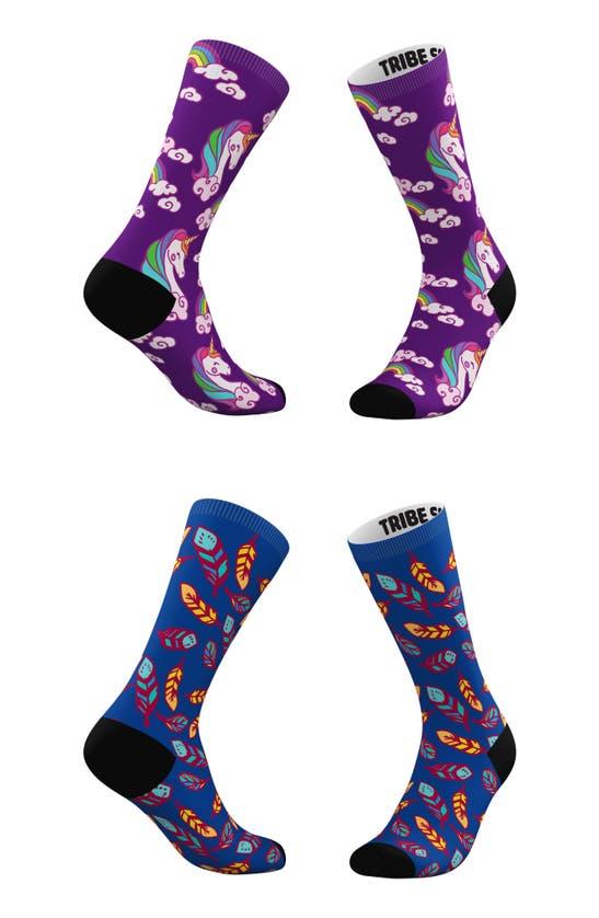 TRIBE SOCKS Socks ASSORTED 2-PACK PURPLE CLOUDS & BLUE FEATHERS CREW SOCKS