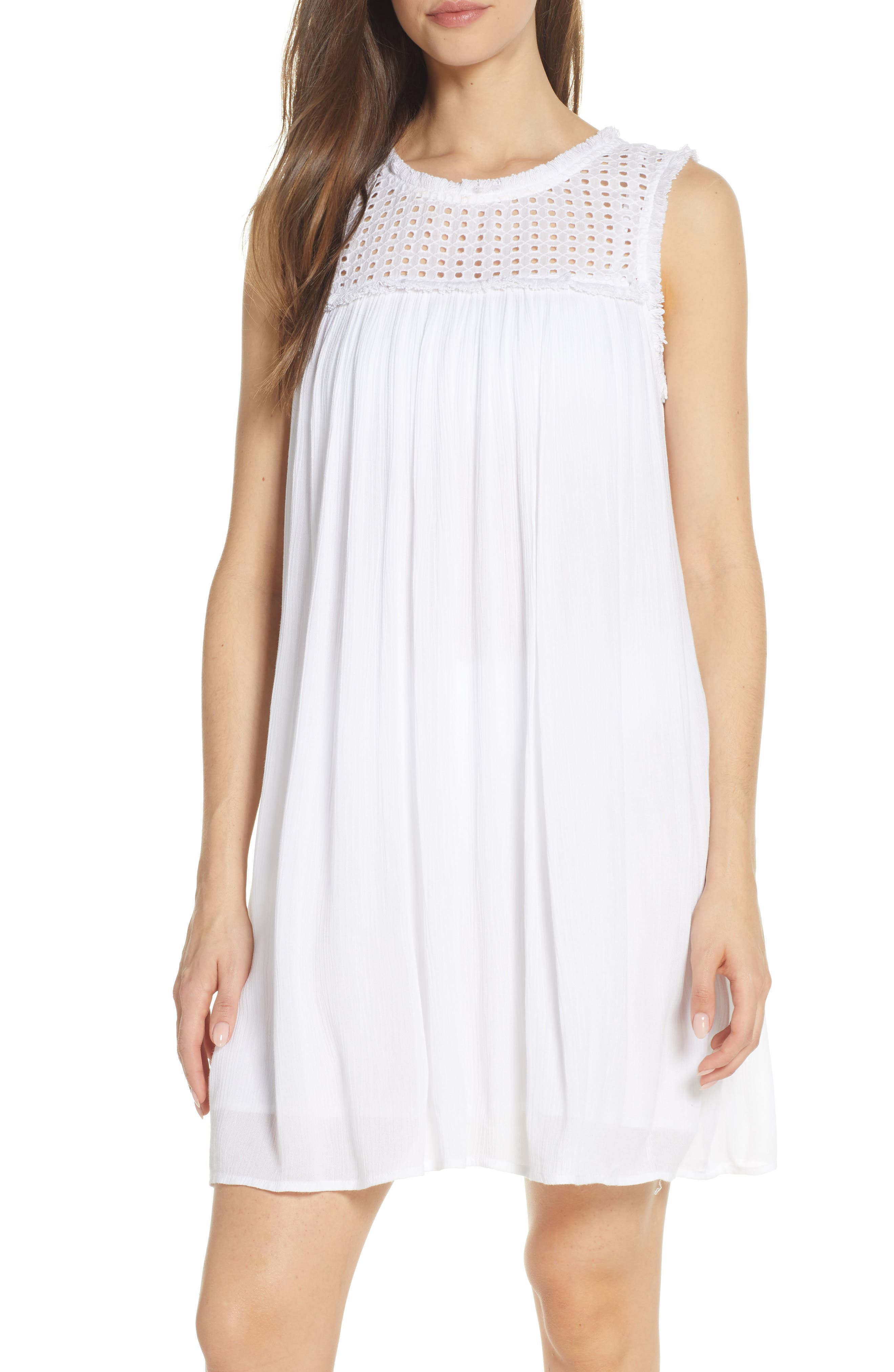 Tommy Bahama Eyelet Yoke Cover-Up Dress, White