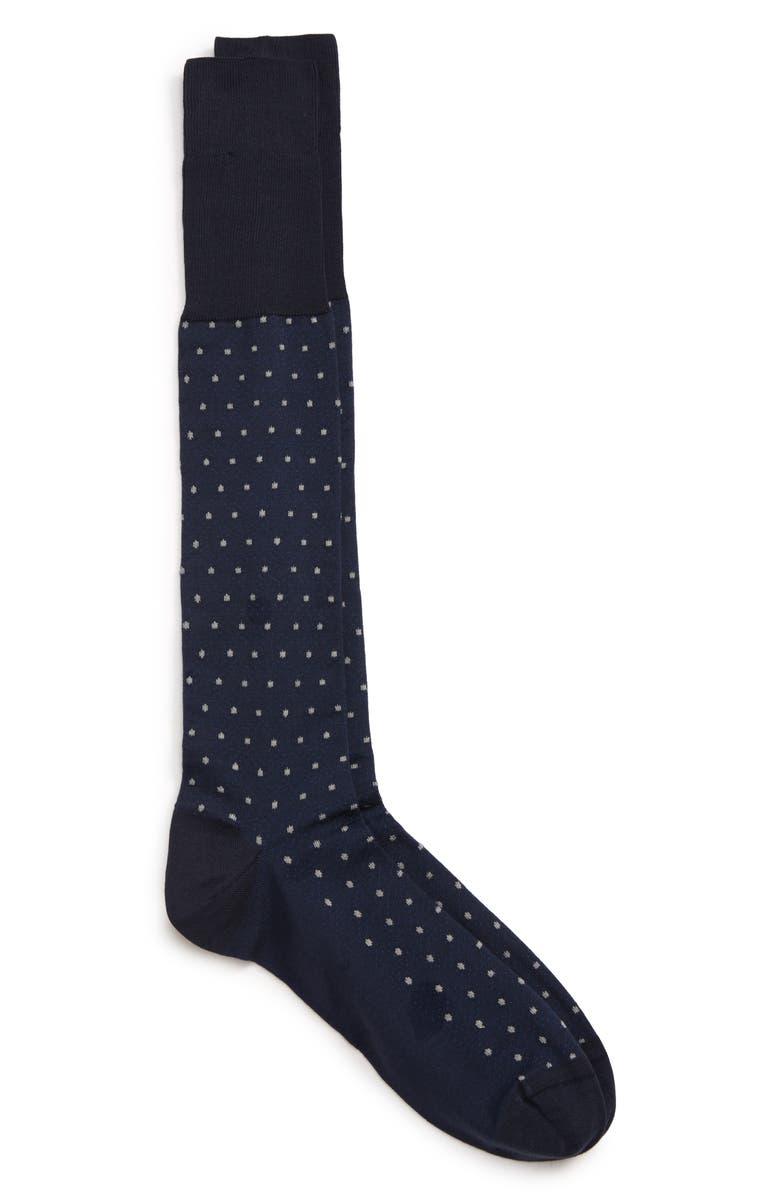 NORDSTROM SIGNATURE Pima Cotton Blend Dot Over the Calf Dress Socks, Main, color, NAVY/ BLUE