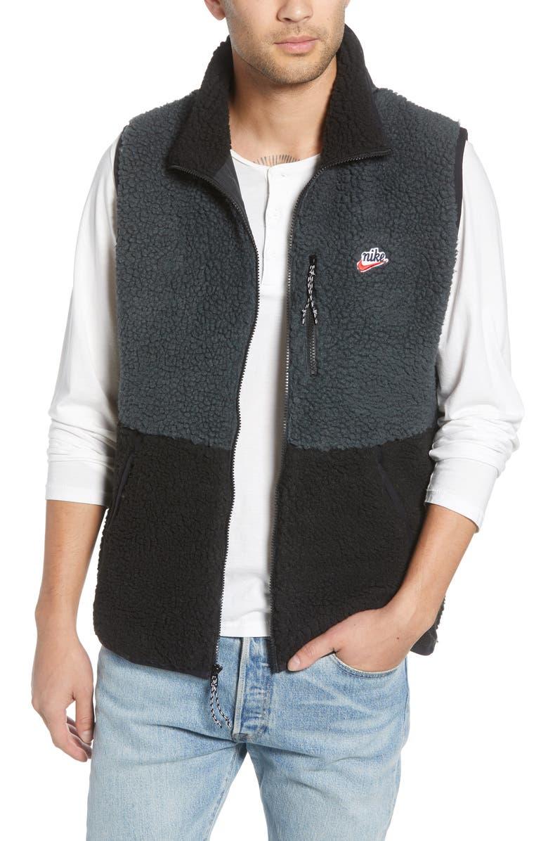 NIKE Sportswear Fleece Vest, Main, color, OFF-NOIR/ BLACK