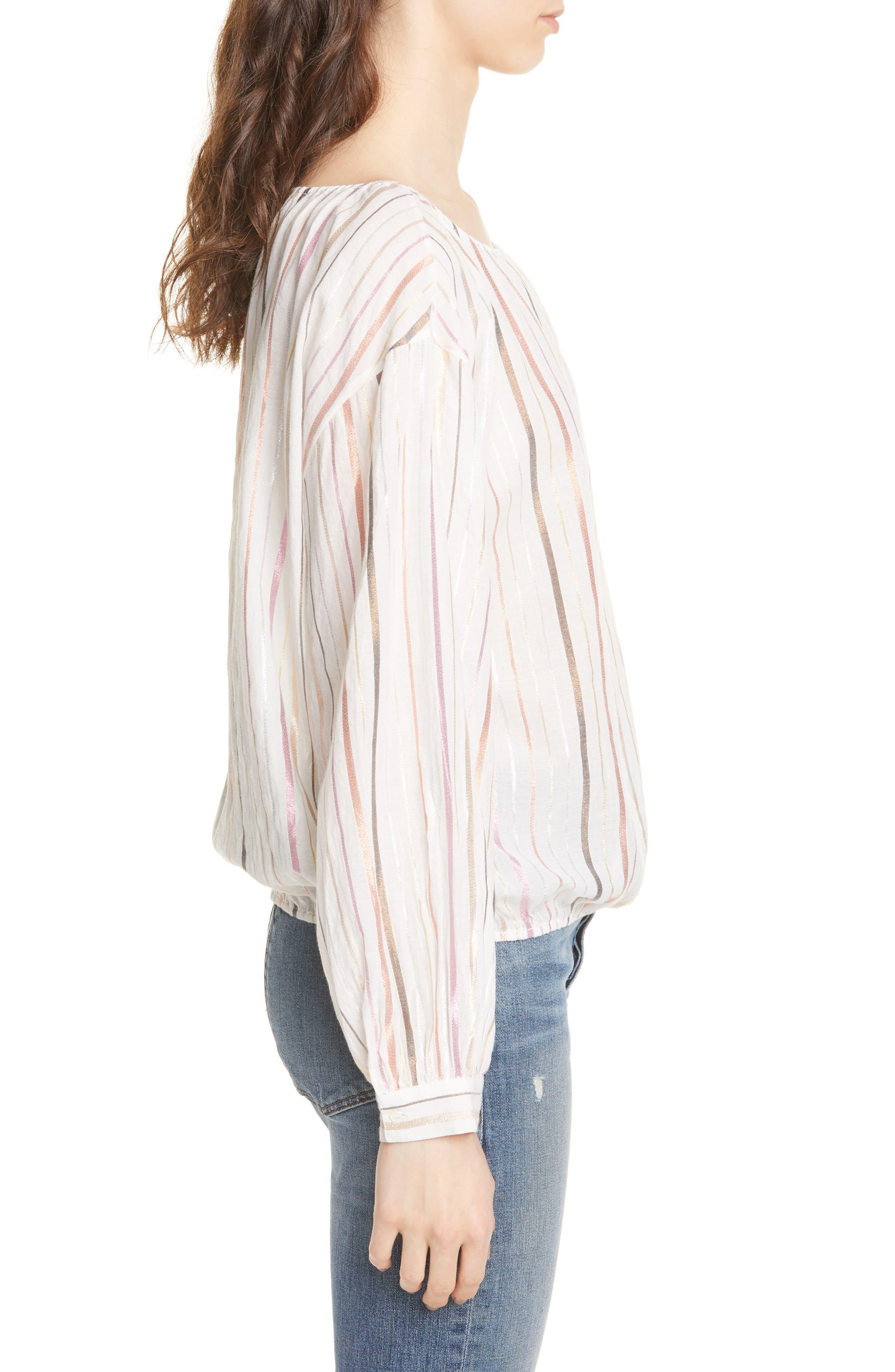 ,                             Satomi Shimmer Stripe Blouse,                             Alternate thumbnail 3, color,                             PORCELAIN
