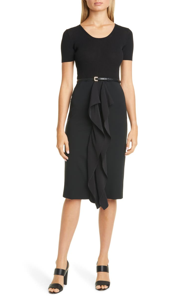 MAX MARA Rapace Belted Mock Two-Piece Dress, Main, color, BLACK
