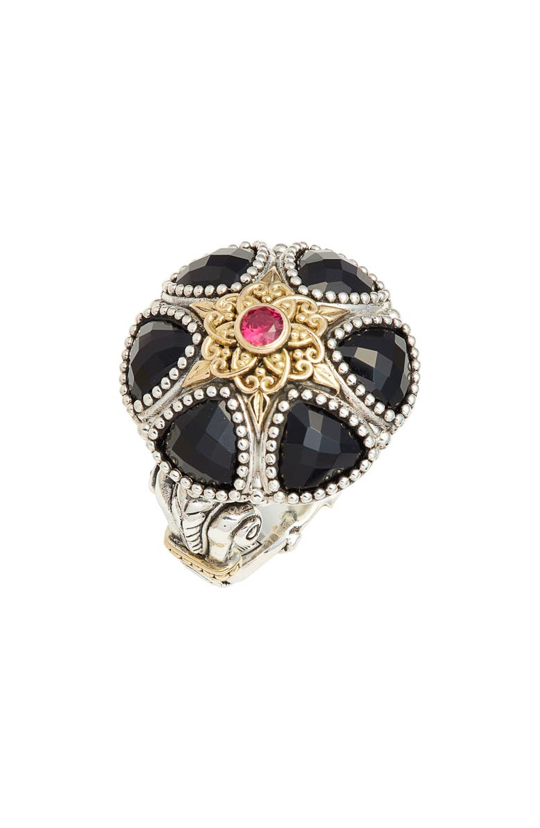 KONSTANTINO Calypso Statement Ring, Main, color, SILVER/ GOLD/ ONYX