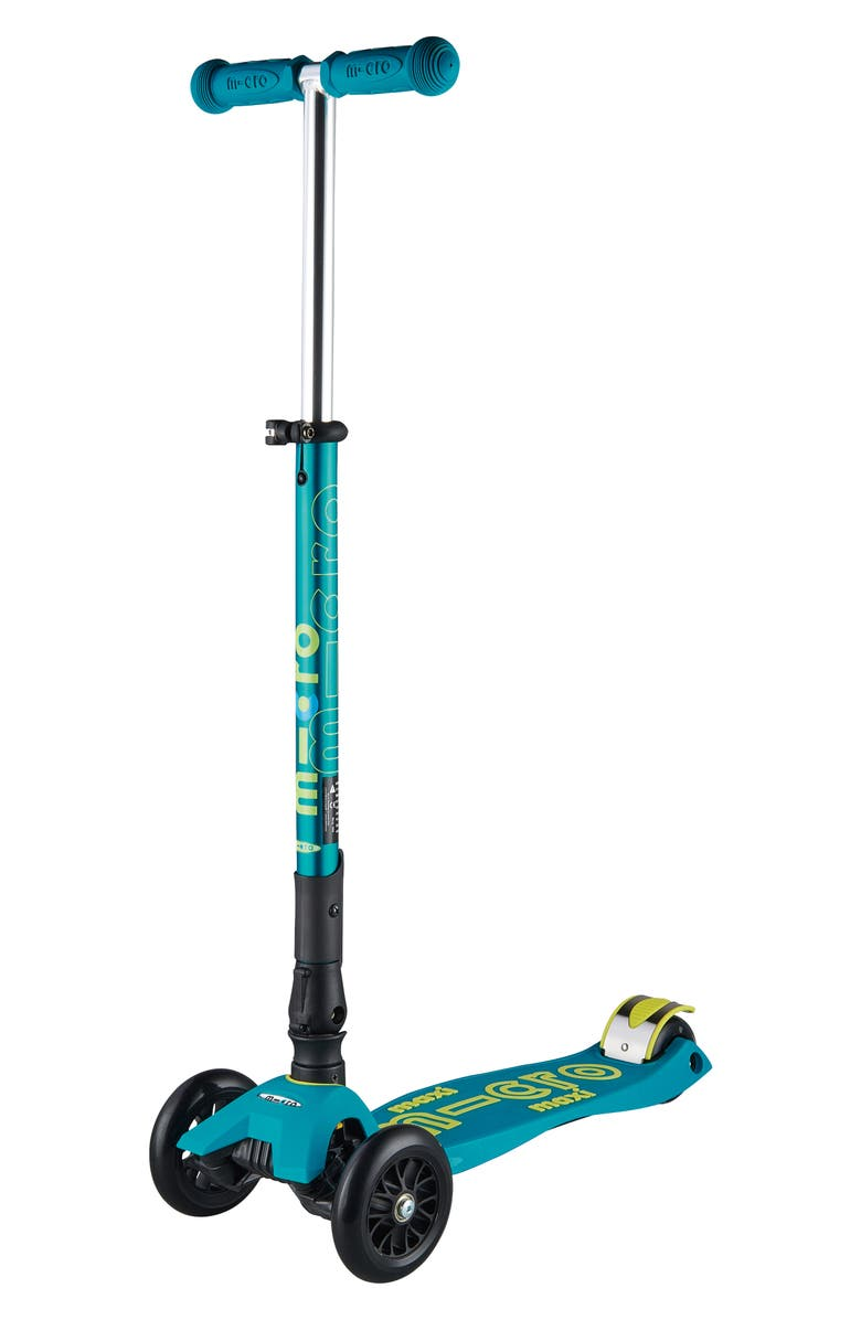 MICRO KICKBOARD Maxi Deluxe Foldable Kick Scooter, Main, color, PETROL GREEN
