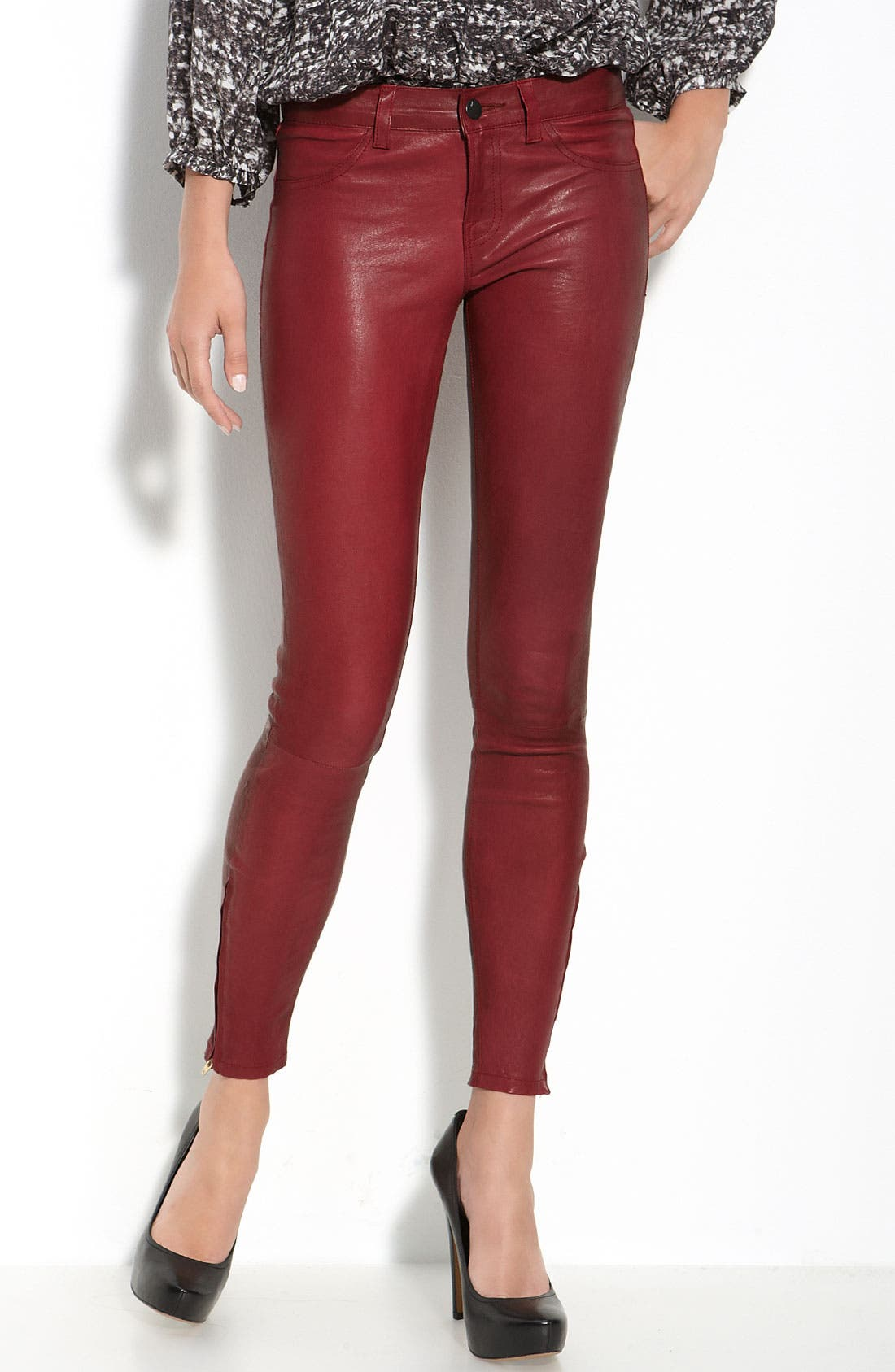 ,                             '8001' Lambskin Leather Pants,                             Main thumbnail 73, color,                             600