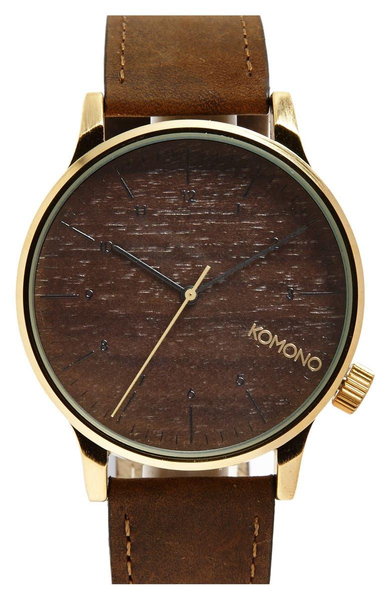 KOMONO 'Winston' Round Leather Strap Watch, 41mm, Main, color, 710
