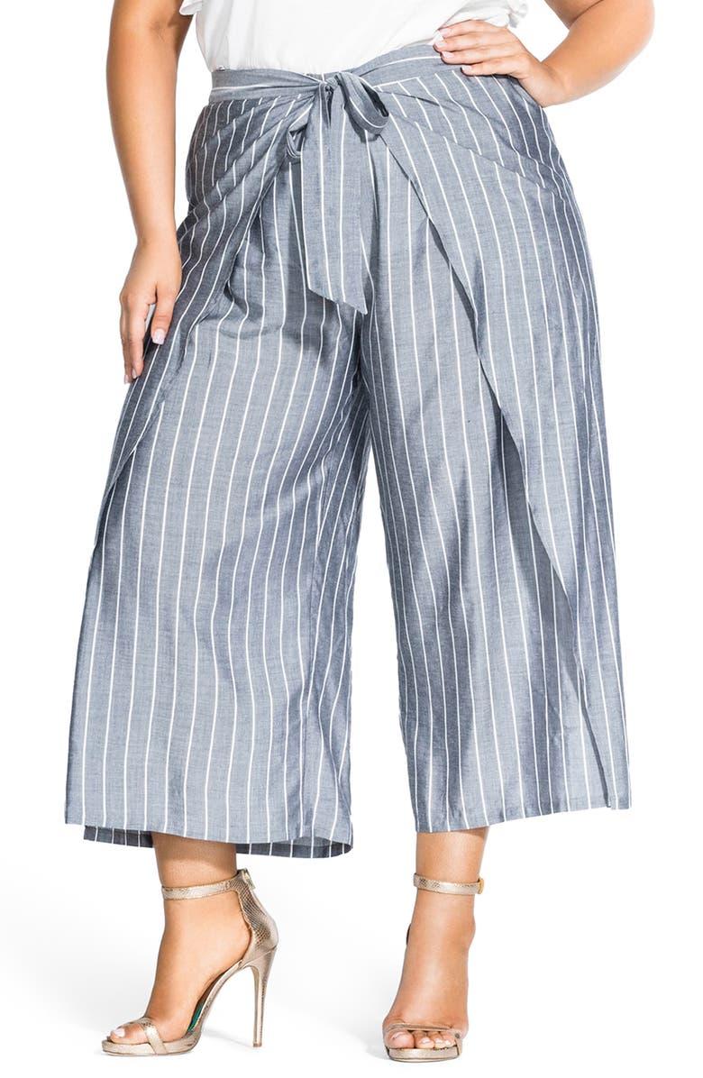 CITY CHIC Simply Swish Stripe Wide Leg Wrap Pants, Main, color, CHAMBRAY STRIPE