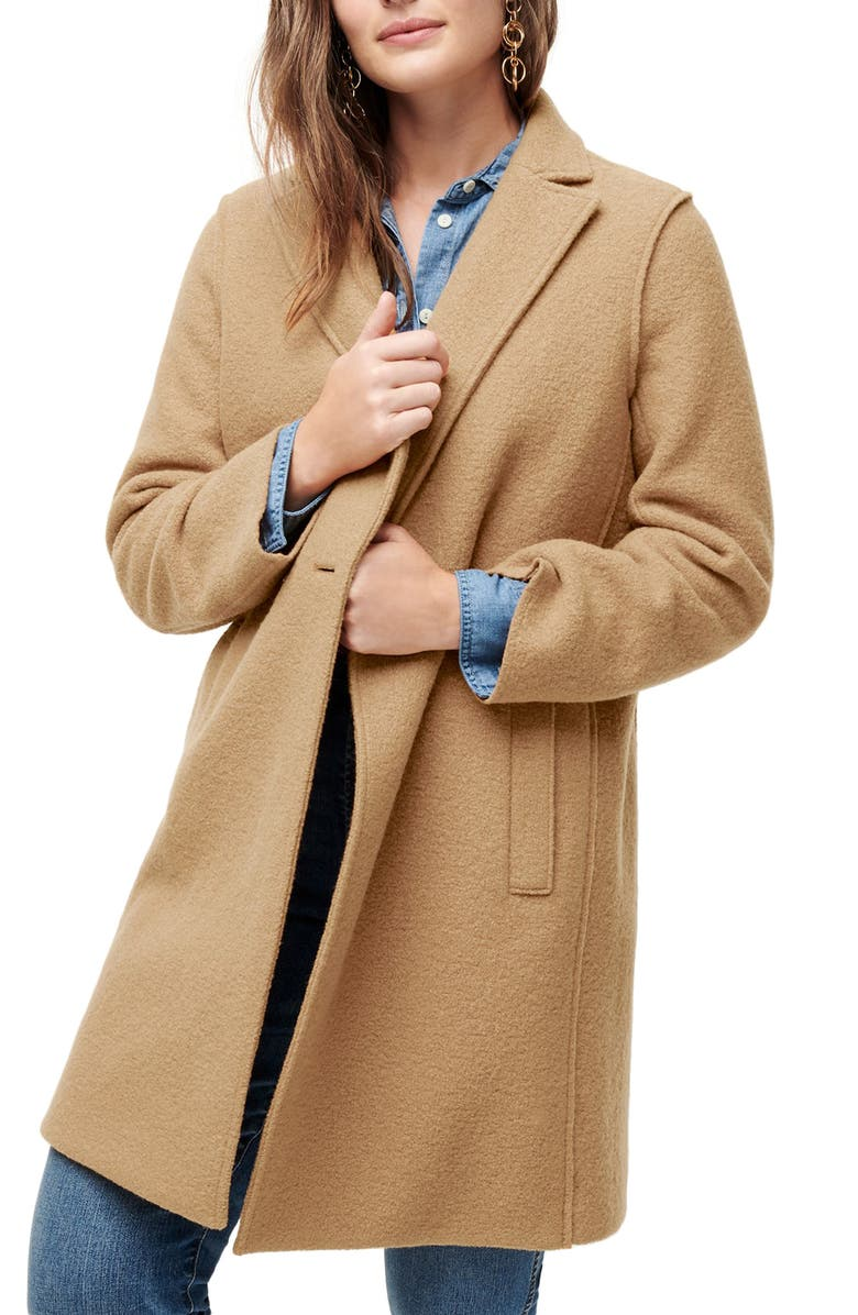 J.CREW Daphne Boiled Wool Topcoat, Main, color, 202