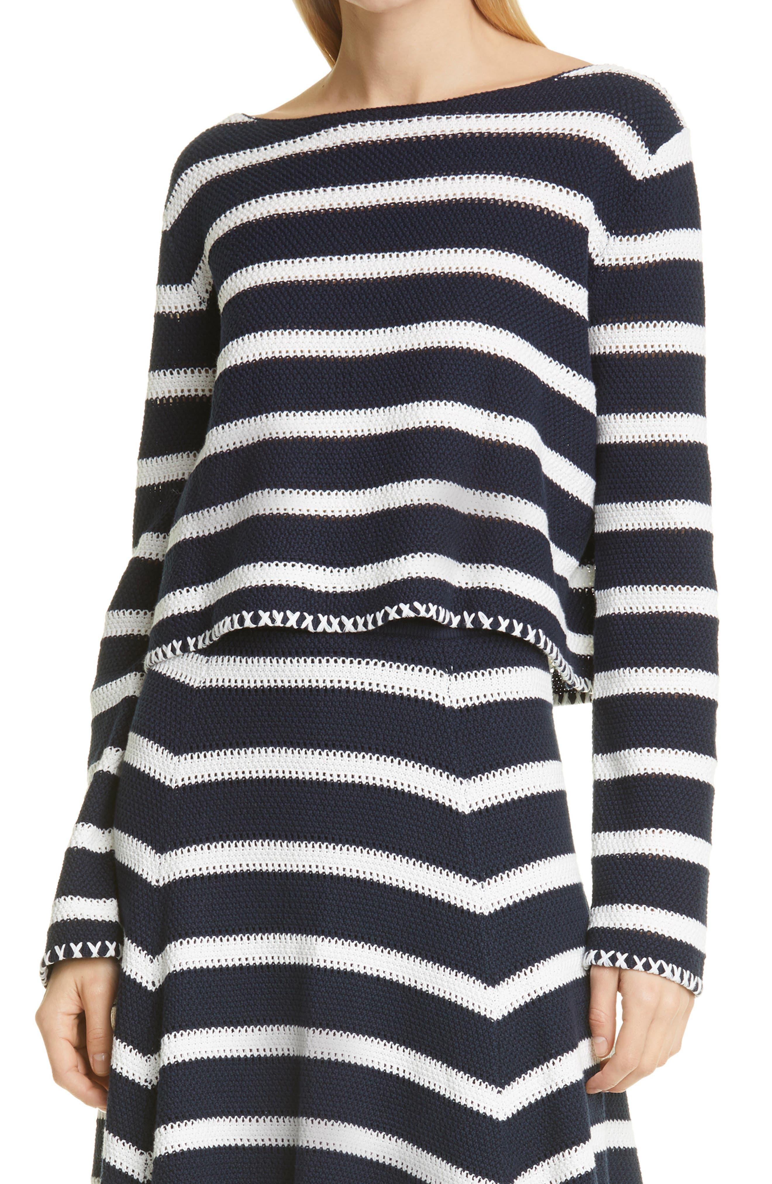 Crochet Stitch Stripe Crewneck Sweater