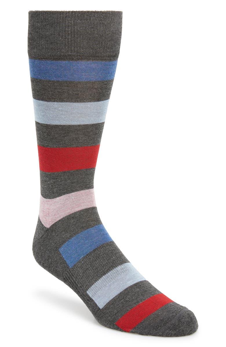 NORDSTROM MEN'S SHOP Rugby Stripe Socks, Main, color, GREY/ RED