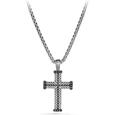 David Yurman Chevron Cross Pendant With Black Diamonds