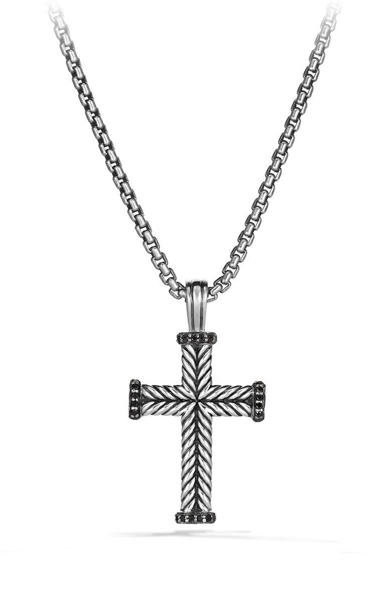DAVID YURMAN Chevron Cross Pendant with Black Diamonds, Main, color, SILVER/ BLACK