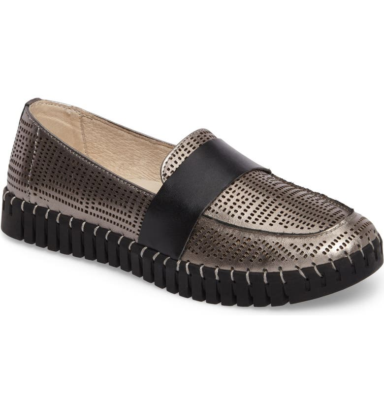 BERNIE MEV. TW74 Perforated Flat, Main, color, GUNMETAL LEATHER