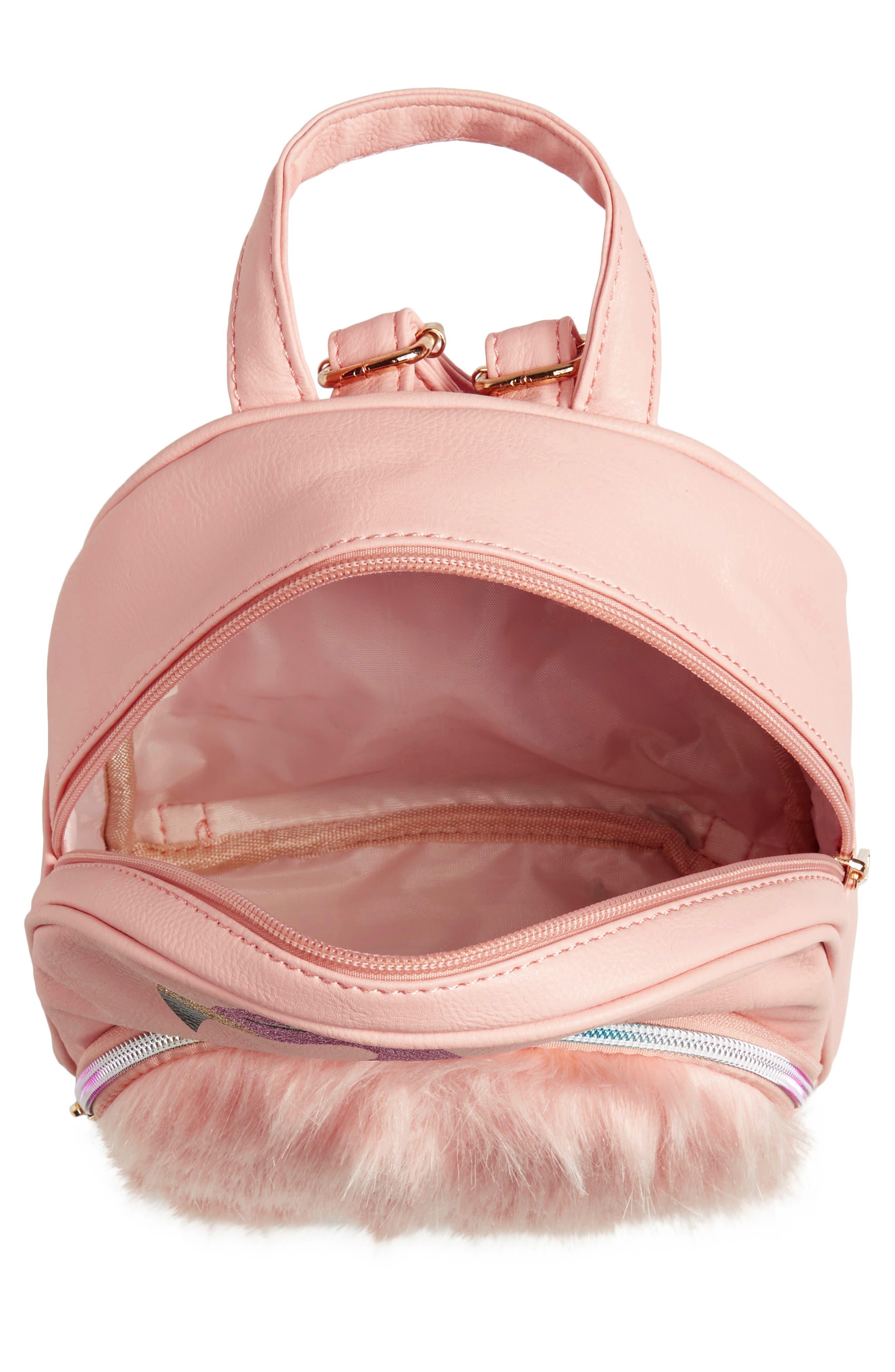 ,                             Mini Faux Fur Flamingo Backpack,                             Alternate thumbnail 3, color,                             PINK