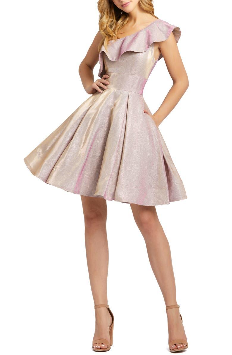 MAC DUGGAL Ruffle One-Shoulder Metallic Skater Dress, Main, color, 650