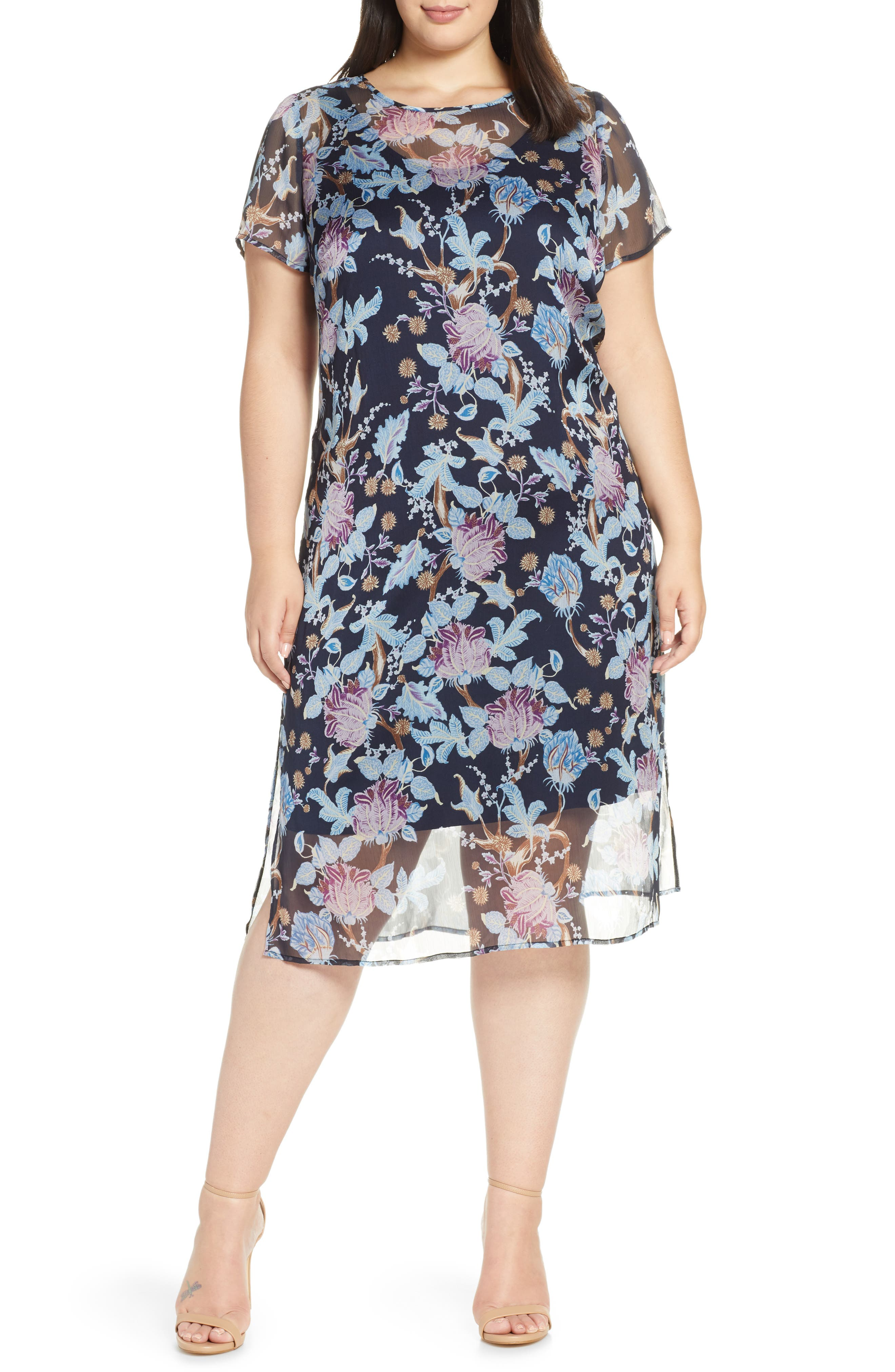 plus size women's vince camuto poetic blooms overlay midi dress, size 2x - blue