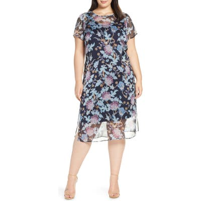 Plus Size Vince Camuto Poetic Blooms Overlay Midi Dress, Blue