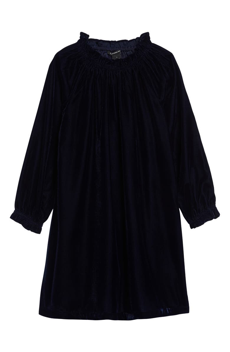 SOMETHING NAVY Gathered Holiday Dress, Main, color, 400