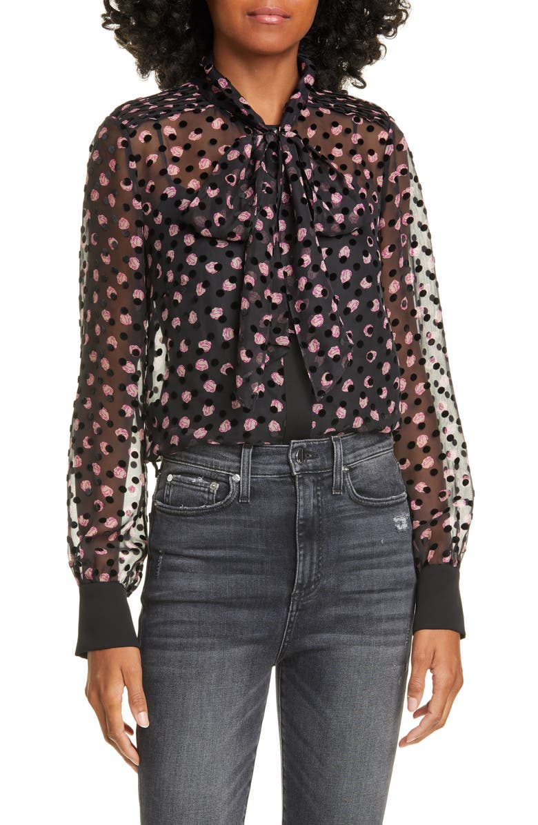 DVF Minnie Textured Dot & Rose Silk Blend Blouse, Main, color, 014