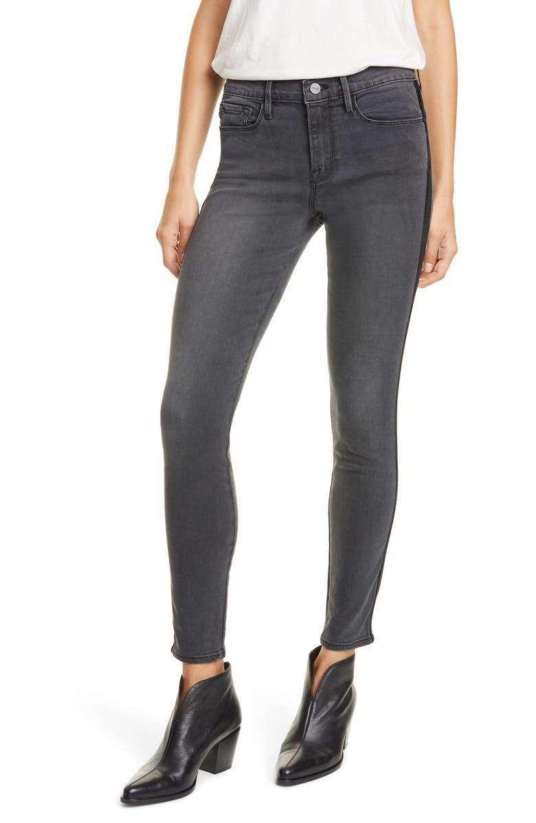 FRAME Le Skinny de Jeanne Velvet Tuxedo Stripe Jeans, Main, color, DARTMOUTH