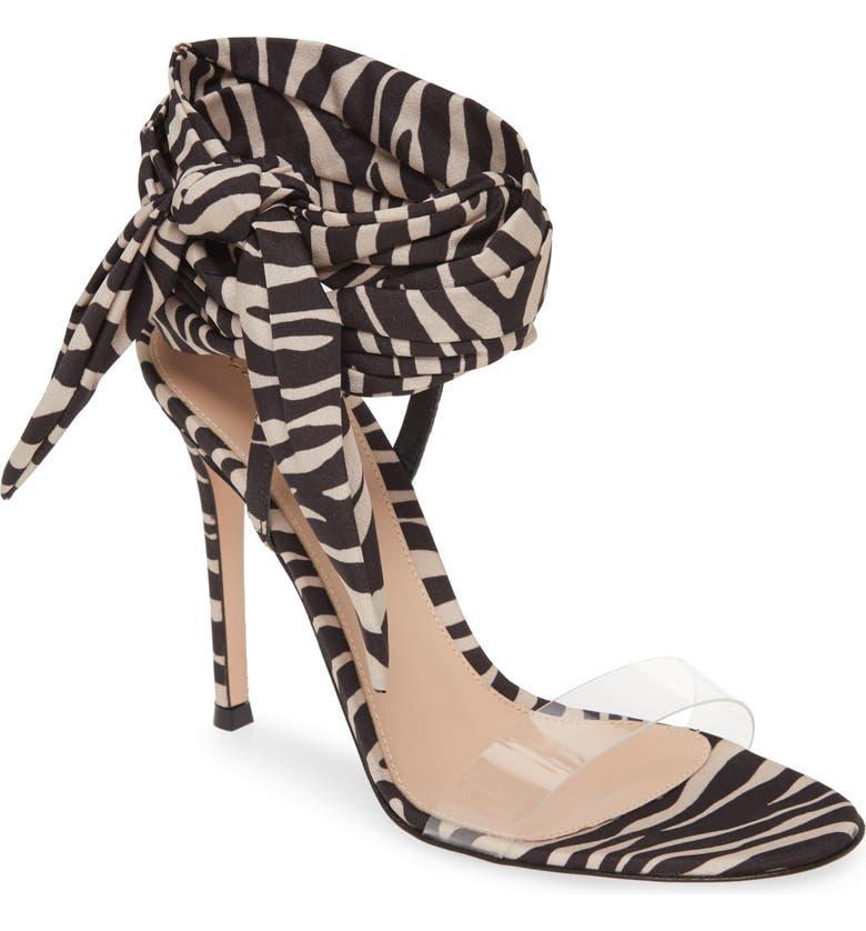 GIANVITO ROSSI Ankle Tie Sandal, Main, color, ZEBRA