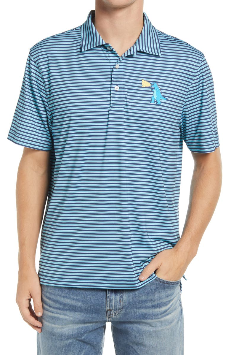 CHUBBIES The Fired Up Stripe T-Rex Graphic Polo, Main, color, TURQUOISE/ AQUA
