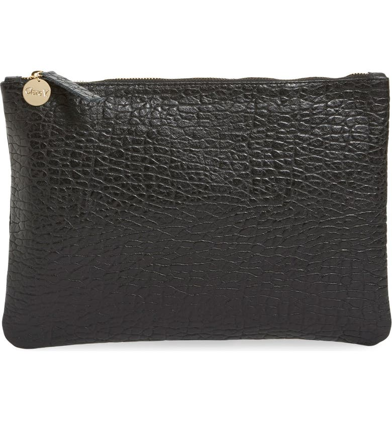 CLARE V. 'Supreme' Leather Zip Clutch, Main, color, 001