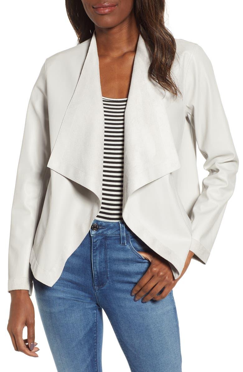 BB DAKOTA Teagan Reversible Faux Leather Drape Front Jacket, Main, color, SMOKE