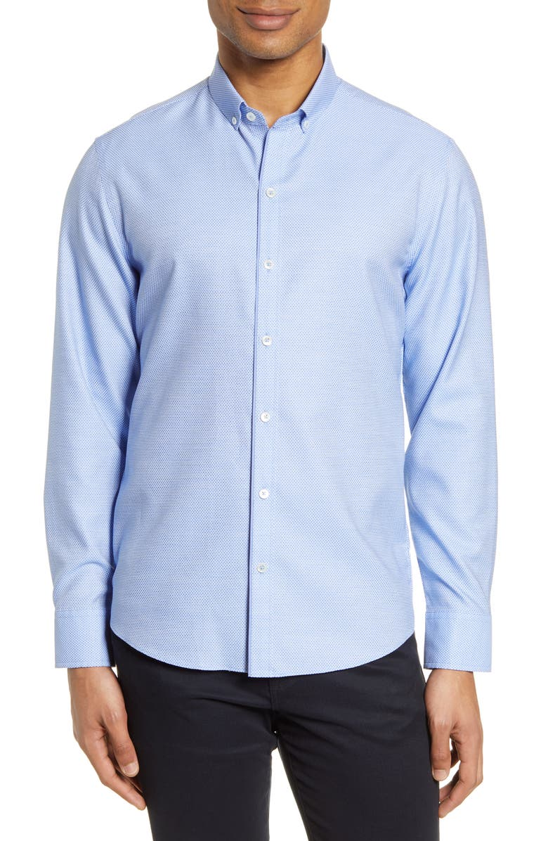 ZACHARY PRELL Bethea Classic Fit Dobby Button-Down Shirt, Main, color, BLUE