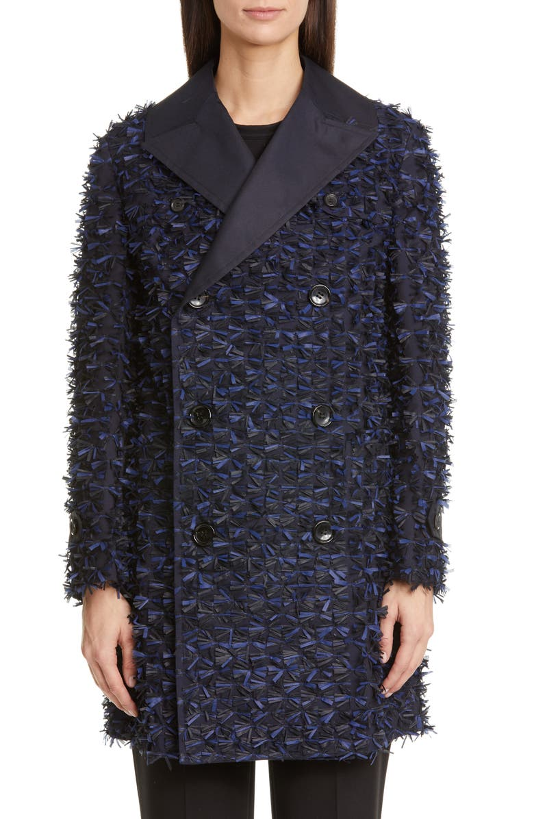 JUNYA WATANABE Textured Double Breasted Blazer, Main, color, NAVY